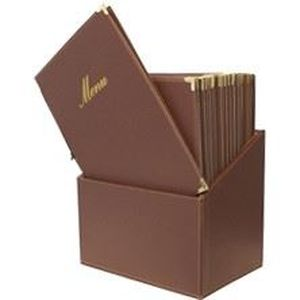 Box 20 menus, A4 marron, 1 double insert