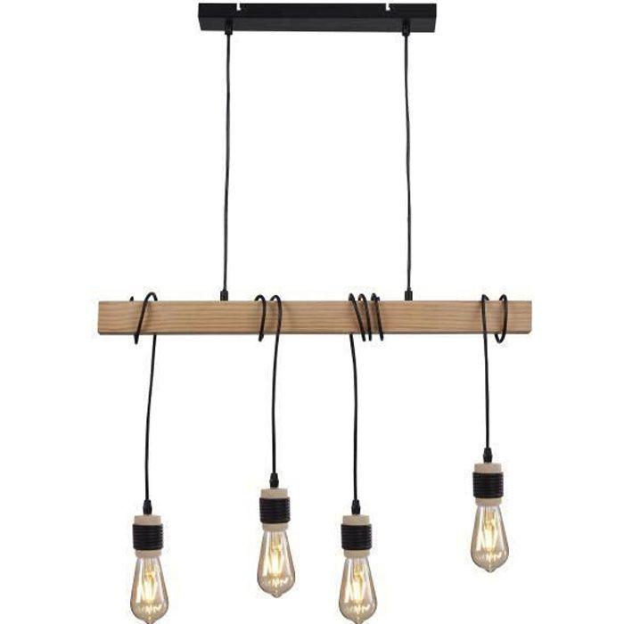 DETROIT Suspension industrielle en bois - 4 têtes - 7 x 70 x H150 - Noir - Ampoules décoratives E27 40W fournies