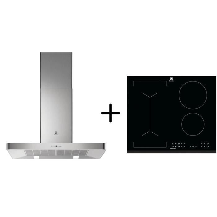 ELECTROLUX EFB90463OX - Hotte décorative murale - Hotte pilotée par la table - A - Inox + LIV6343 - Table cuisson Pack encastrable