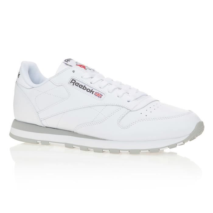 REEBOK Baskets Classic Leather - Homme - Blanc et gris
