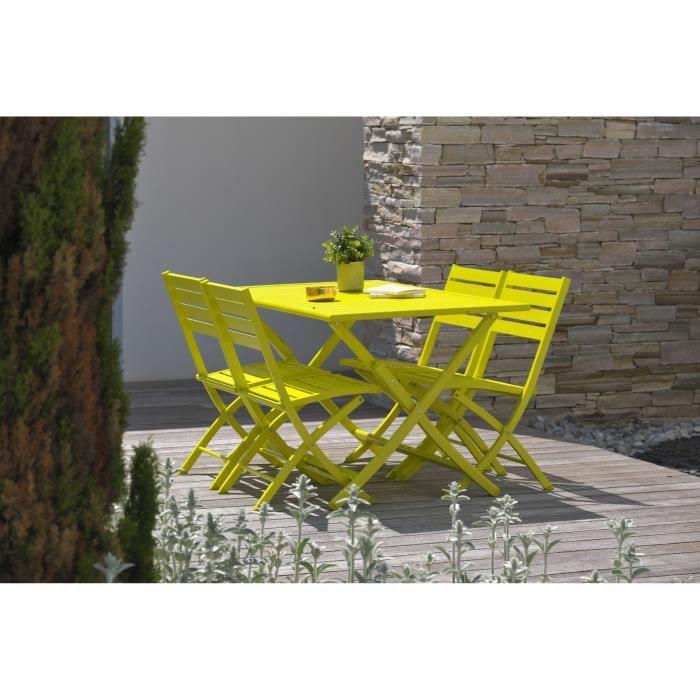 DCB GARDEN Table pliante Marius 140 x 80 cm + 4 chaises pliantes en aluminium - Jaune