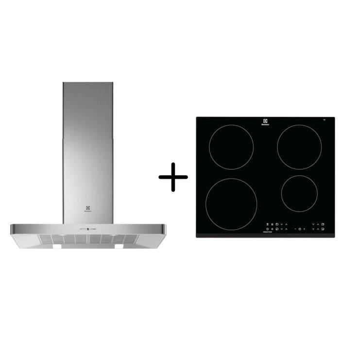 ELECTROLUX EFB90463OX - Hotte décorative murale - Hotte pilotée par la table - Inox + LIT6043 - Table induction - Pack encastrable