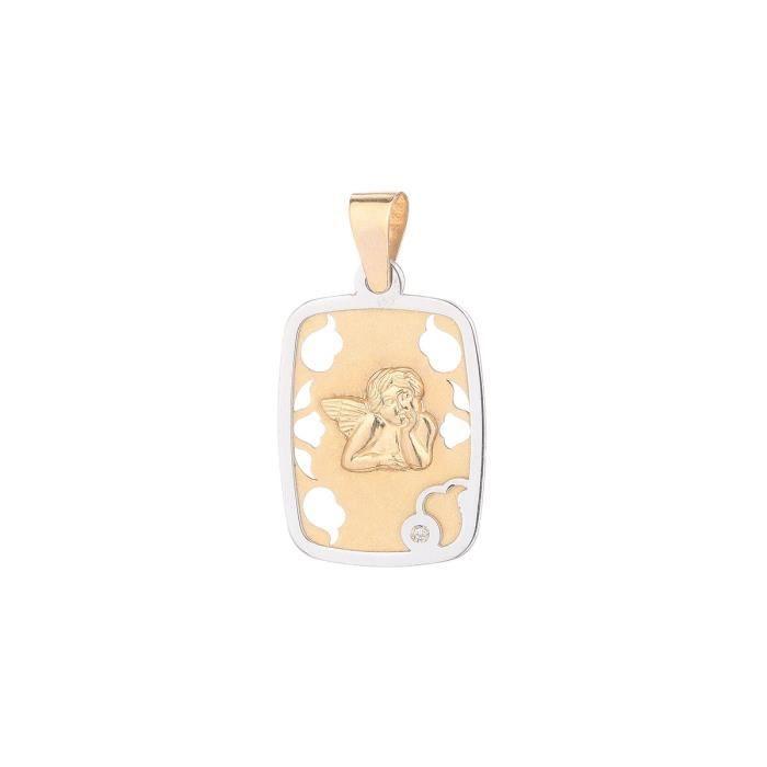 YSORA - Médaille Rectangulaire Ange en Or Bicolore 9 Carats et Diamant - Enfant