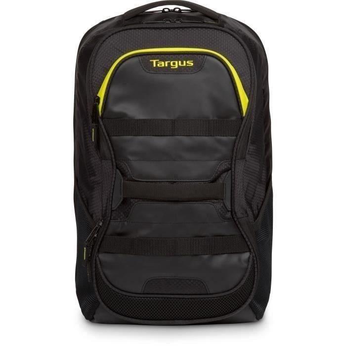 TARGUS Sac à Dos Work & Play Multisports 15.6 - Noir & Jaune Citron - 27L -Compartiment amortisseur ordinateur portable et tablettes