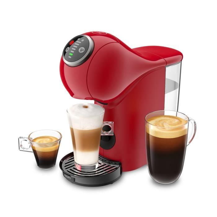 Machine à café Espresso BooFonction XL Boissons chaudes et froides - KRUPS Genio S Plus YY4444FD - Rouge - Témoin Détartrage