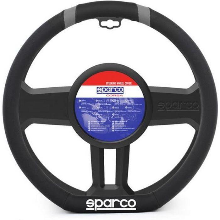 SPARCO Couvre-volant - Pour volant de type méplat - Méplat et liseré gris