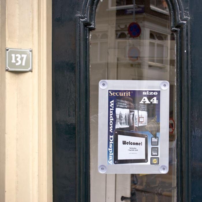 Porte affiche pour vitre - A4 - gris