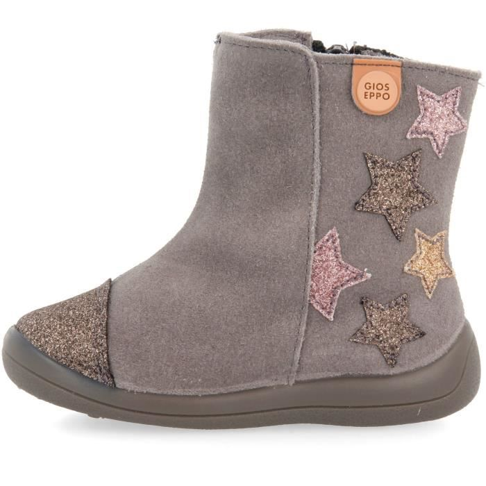GIOSEPPO Bottines cuir confort Gris Enfant fille
