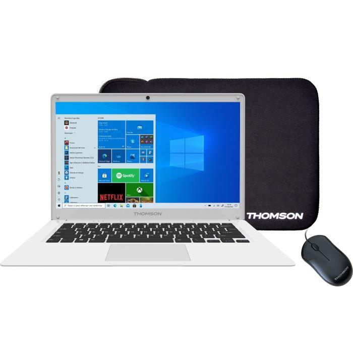 PC Portable - THOMSON T14C4WH64MS - 14,1- HD - Intel Celeron - 4 Go - Stockage 64 Go SSD - W10 S - AZERTY + Sacoche et Souris