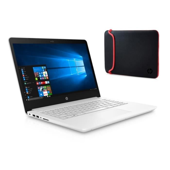 Hp pc portable 14 14bp024nf 4 go de ram windows 10 intel core i3 6006u intel hd 520 disque dur 128 go emmc housse rouge