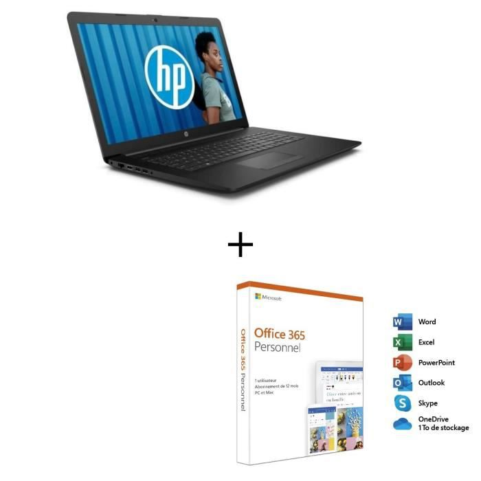 Hp pc portable 17 ca0004nf 173 hd amd a9 ram 8 go stockage 1 to lecteur graveur dvd windows 10 office 365 personnel