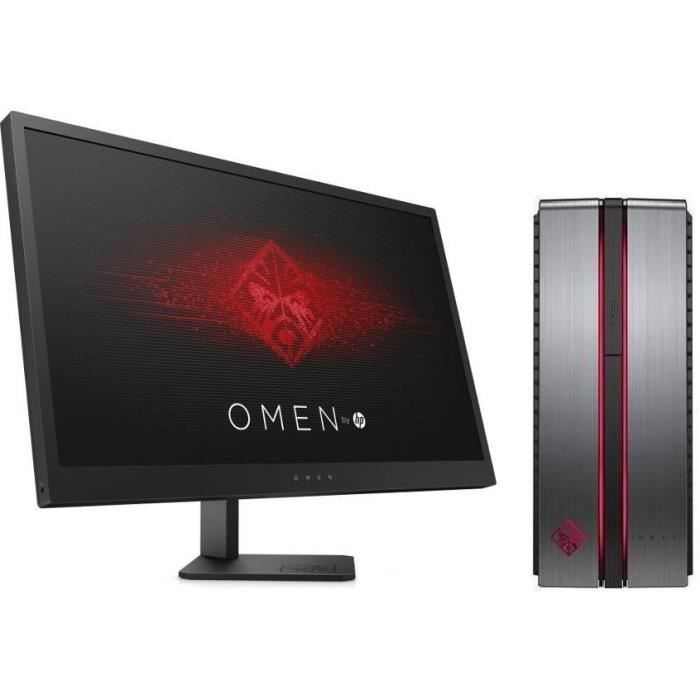 HP PC de Bureau Gamer Omen 870234nf - RAM 8Go - Core I7-7700 - NVIDIA GTX 1070 - Stockage 128Go SSD + 1To + Ecran Omen 25\