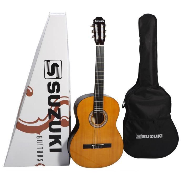 SUZUKI Guitare classique 3/4 finition naturelle avec housse de protection