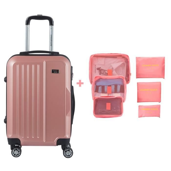 TRAVEL WORLD Valise cabine 55cm + 6 organisateurs de voyage - Couleur Or rose