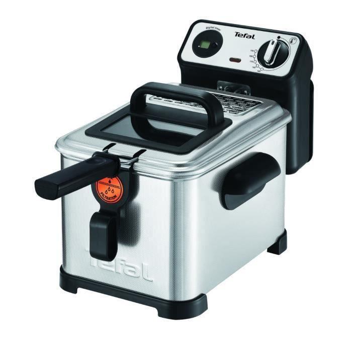 TEFAL FR51170 Friteuse Filtra Pro Inox & Design 3L, 1,2Kg de frites Thermostat Réglable
