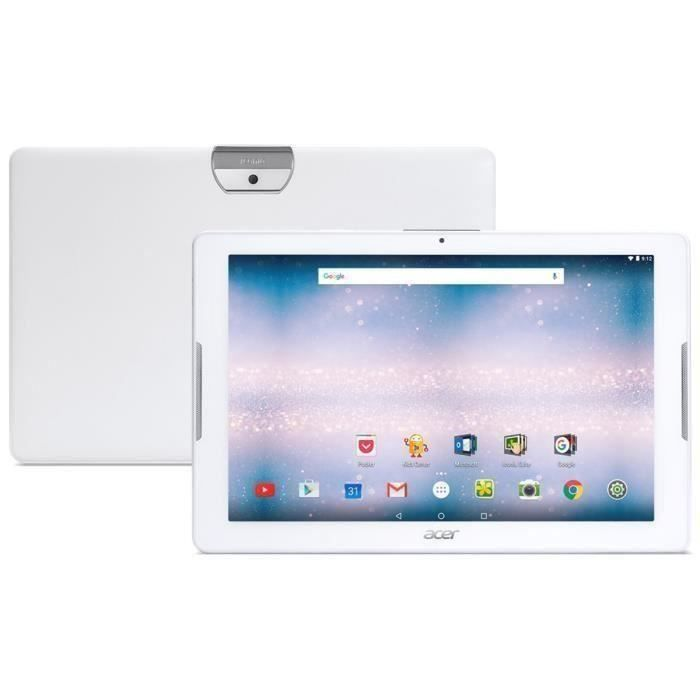 Acer Tablette Tactile Iconia One 10 10,1 Hd 1Go Ram Android 6.0 Quad Core Rom 16Go Blanc B3 A30 K4qy