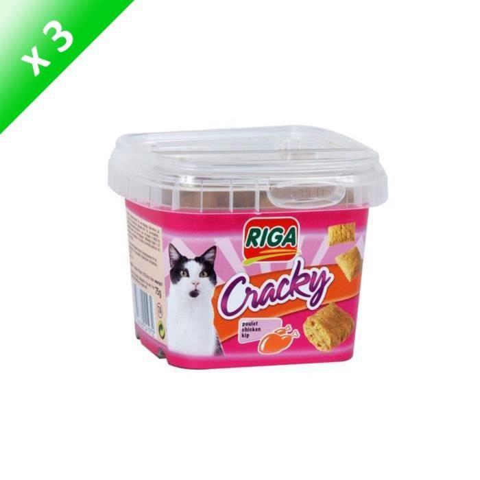 RIGA Lot de 3 Cracky friandises au poulet pour chat 75g