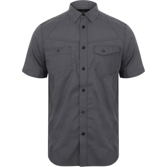 DISSIDENT Chemise Manches Courtes Aspect Dobby Fines Rayures Bleu Grisé Homme