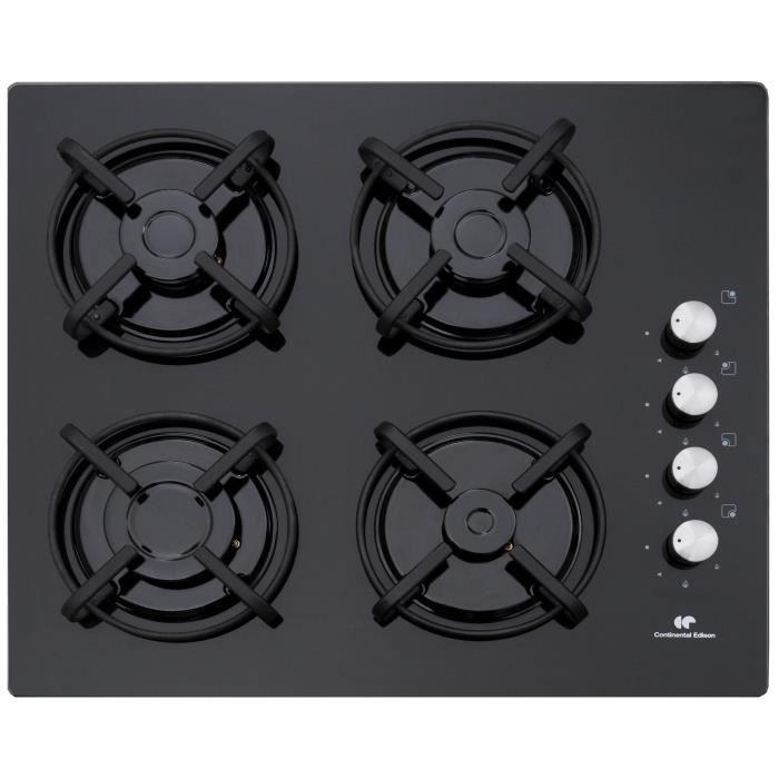 CONTINENTAL EDISON CECTG4VB Plaque de cuisson gaz - 4 foyers - 7,05kW - L58xP50cm - Revêtement verre - Noir