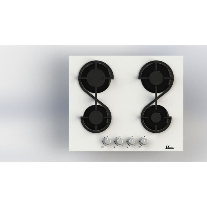 HUDSON HTG 4 VB Plaque de cuisson gaz - 4 foyers - L 60 cm - Revêtement verre - Blanc