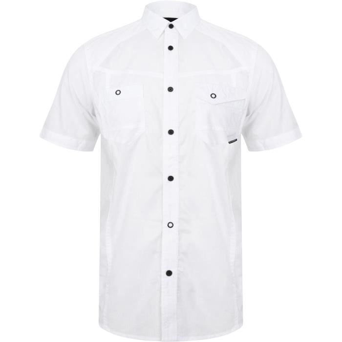 DISSIDENT Chemise Manches Courtes Aspect Dobby Fines Rayures Blanc Homme