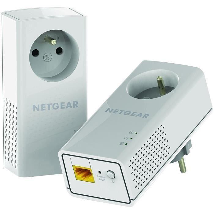 NETGEAR Pack de 2 adaptateurs CPL 2000 Mbit/s- 2 ports 10/100/1000 RJ45 - Avec prise intégrée PLP2000-100FRS
