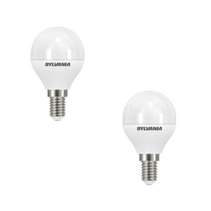 SYLVANIA Lot de 2 ampoules LED Toledo Ball Frosted E14 6 W équivalent à 40 W