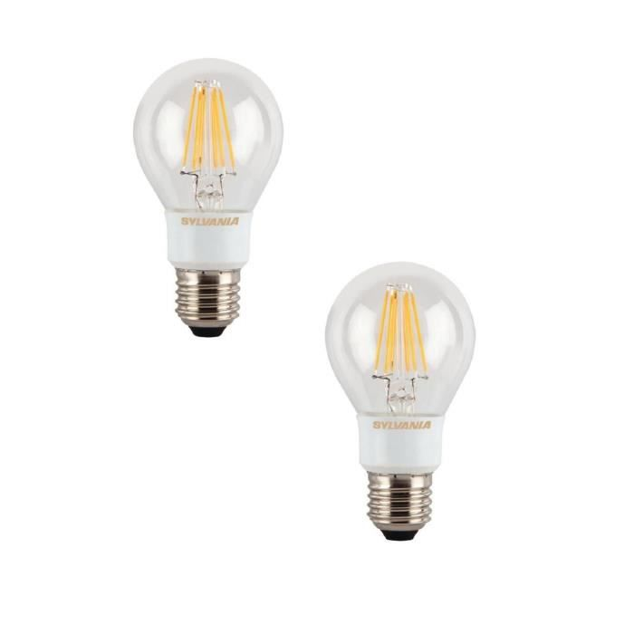 SYLVANIA Lot de 2 ampoules LED à filament Toledo RT E27 6 W équivalent à 60 W dimmable