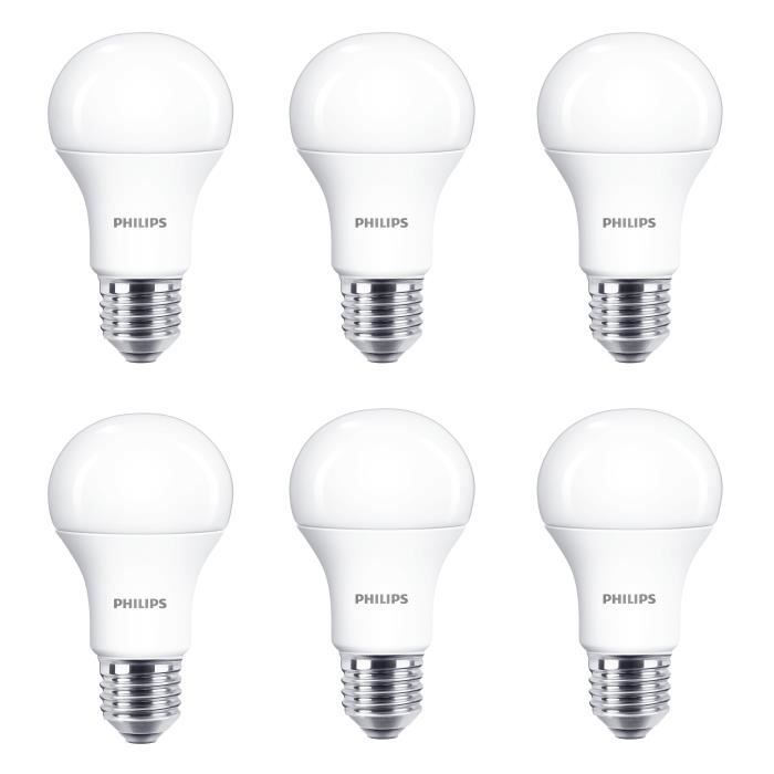 PHILIPS EDF Lot de 6 ampoules LED E27 11 W équivalent à 75 W