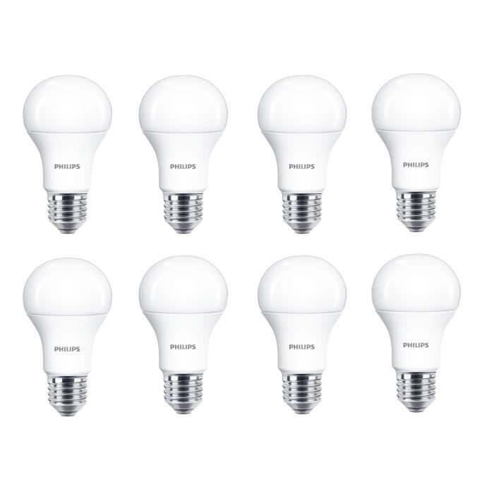 PHILIPS EDF Lot de 8 ampoules LED E27 11 W équivalent à 75 W