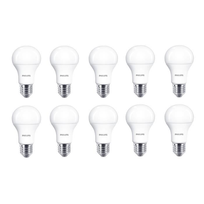PHILIPS EDF Lot de 10 ampoules LED E27 11 W équivalent à 75 W