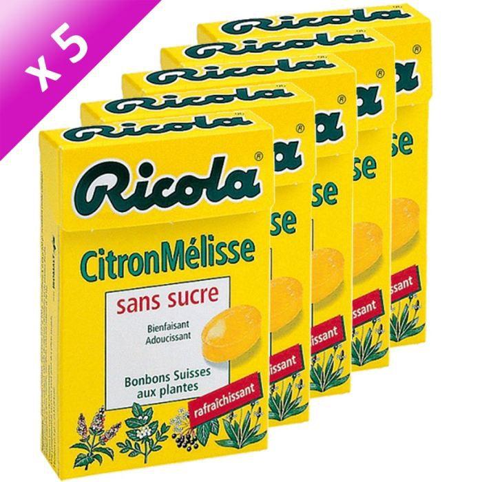RICOLA Citron Mélisse Sans Sucre 5x50g