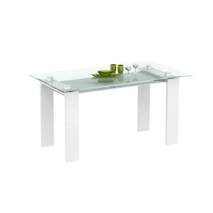 Focus table 160cm en verre blanc for Table de cuisine en verre