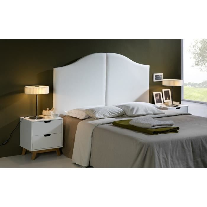 wave t te de lit 160 cm en simili blanc achat vente t te de lit wave t te de lit structure. Black Bedroom Furniture Sets. Home Design Ideas