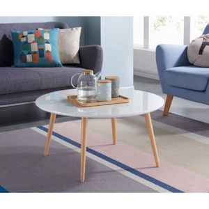Table basse ronde blanche achat vente table basse for Table basse scandinave laque