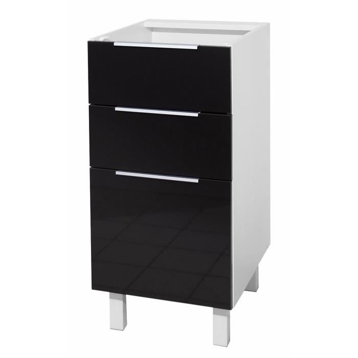 pop caisson bas de cuisine 40 cm noir haute brillance achat vente elements bas caisson 3. Black Bedroom Furniture Sets. Home Design Ideas