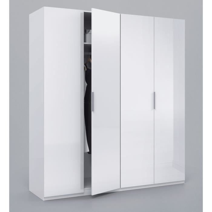 max armoire 4 portes 200x180cm blanc brillant achat. Black Bedroom Furniture Sets. Home Design Ideas
