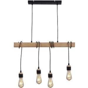 LUSTRE ET SUSPENSION DETROIT Suspension industrielle 4 têtes en bois -