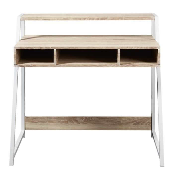 olga bureau scandinave m lamin d cor ch ne clair pieds m tal blanc l 100 cm achat vente. Black Bedroom Furniture Sets. Home Design Ideas