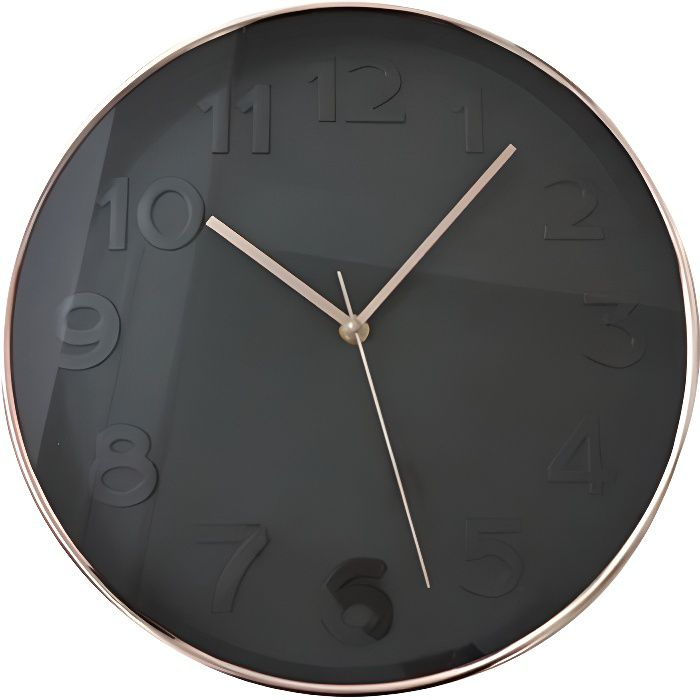 horloge murale ronde diam tre 30 5 cm noir achat vente horloge plastique cdiscount. Black Bedroom Furniture Sets. Home Design Ideas