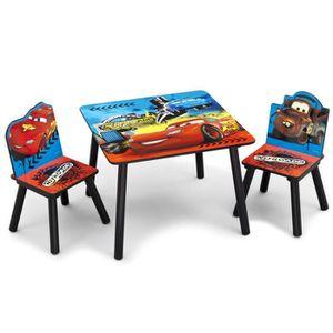 TABLE ET CHAISE CARS - Ensemble Table et 2 Chaises Bois Enfant - N
