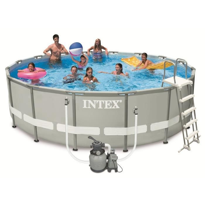 Intex ultra frame pool set piscine ronde tubulaire 4 88 x for Piscine ronde intex
