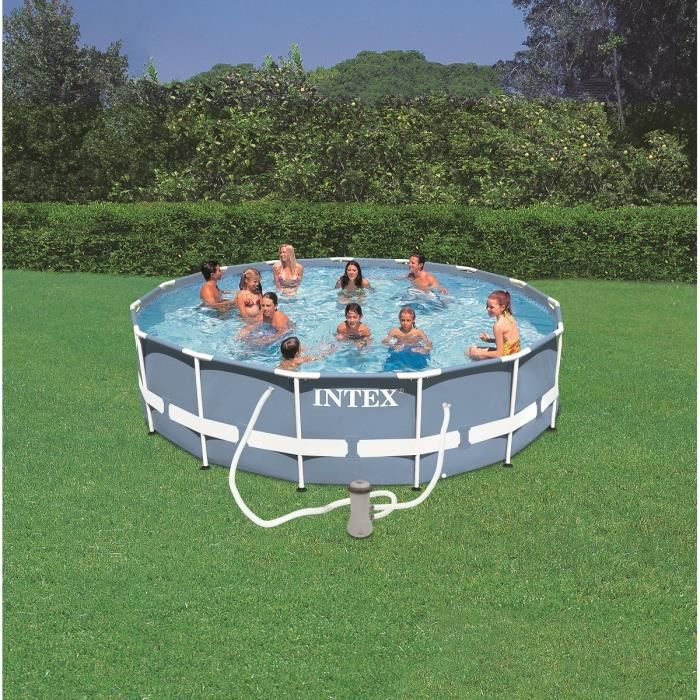 Kit piscine tubulaire intex ronde 4 57 x 1 07m achat for Piscine ronde intex
