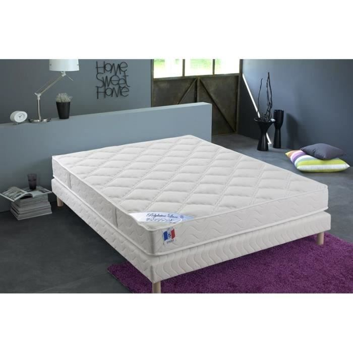 confort design ensemble matelas sommier 140x190 cm polylatex et mousse ferme 80kg m3 et. Black Bedroom Furniture Sets. Home Design Ideas