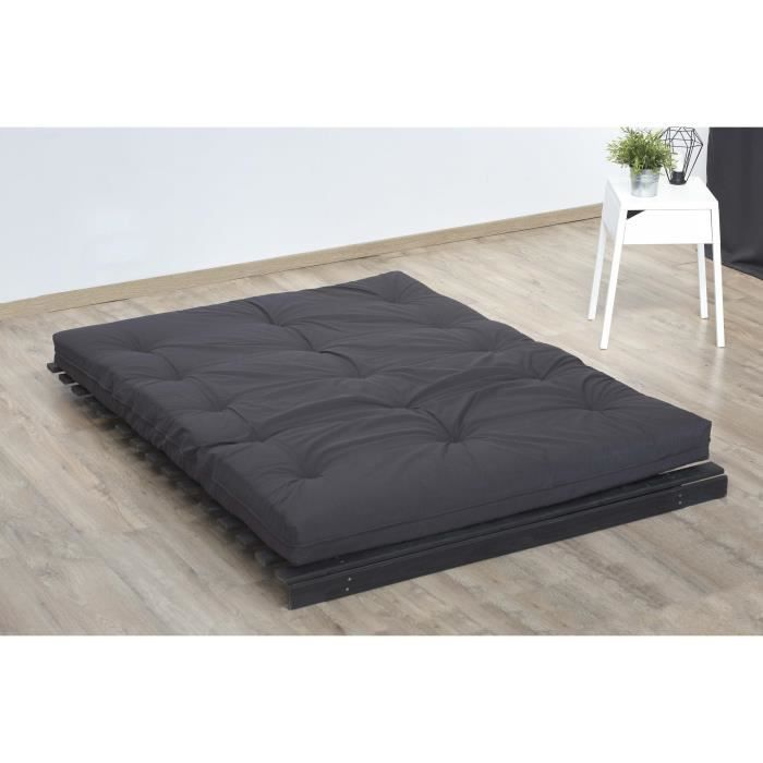 matelas futon 140x190 gris anthracite 5 couches de ouate 1300g m equilibr et ferme achat. Black Bedroom Furniture Sets. Home Design Ideas