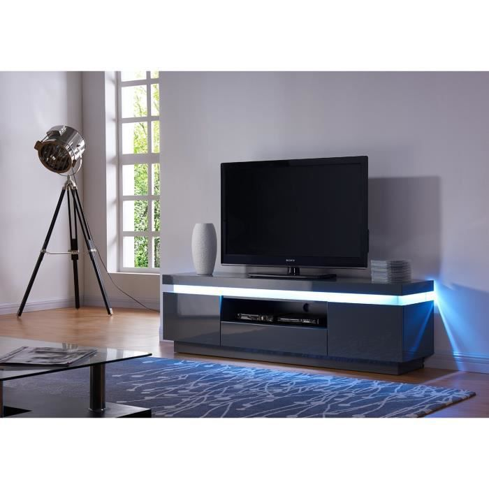 flash meuble tv laqu gris avec leds blanches 165cm achat vente meuble tv flash meuble tv. Black Bedroom Furniture Sets. Home Design Ideas