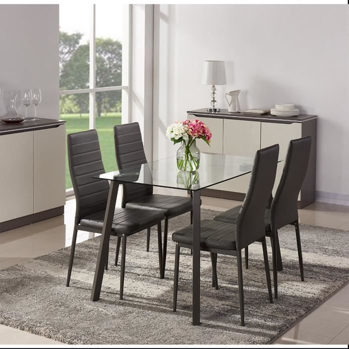 ensemble repas solis laqu gris 1 table manger 120cm 4. Black Bedroom Furniture Sets. Home Design Ideas