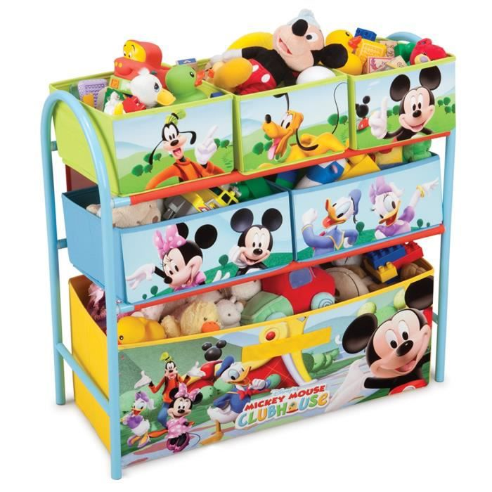 mickey meuble de rangement enfant jouets 6 bacs ch ssis m tal achat vente commode de. Black Bedroom Furniture Sets. Home Design Ideas