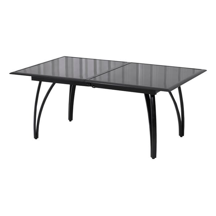 table alu noire rallonge papillon 180 240cm achat vente table de jardin table alu rallonge. Black Bedroom Furniture Sets. Home Design Ideas