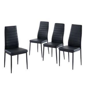 CHAISE SAM Lot de 4 chaises de salle à manger - Noir - Pi